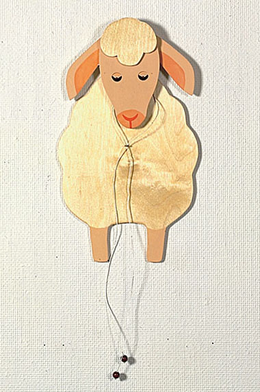Jumping sheep, pale, 35 cm