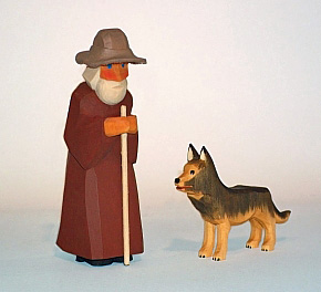 Shepherd with stick and hat, 12 cm (Type 1)